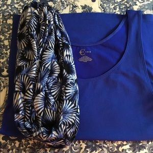 Royal blue camisole and matching infinity scarf.